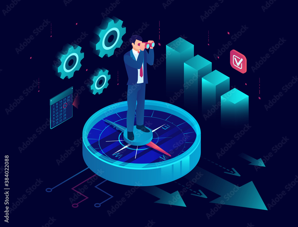 Fototapeta Vector of a business man standing on a compass and looking into binoculars for new financial opportunities