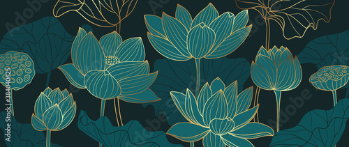Fotografie, Obraz Luxury lotus background design with golden line and emerald green color