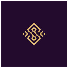 Square Gold Pattern, Golden Initial Letter S With Artistic Geometric Line Logo Design