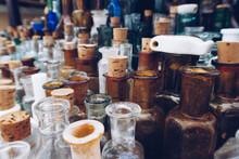 A Row Of Many Vintage Medicine...