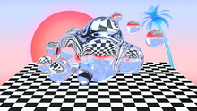 Vaporwave Aesthetics Landscape With Checkered Floor, Water Splash Or Glass Bubbles, Palm Tree And A Sunset. 80s Or 90s Styled Surreal Abstract Background For Vaporwave Party Or Event Invitaion.