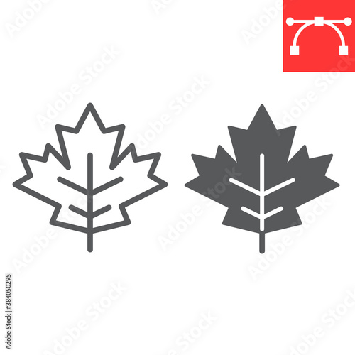 Maple leaf line and glyph icon, thanksgiving and nature, leaf sign vector graphics, editable stroke linear icon, eps 10.