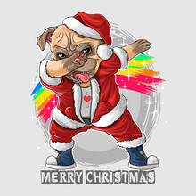 Santa Claus The Cute Pug Dog D...