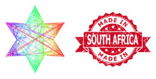 Distress Made In South Africa Stamp And Spectrum Hatched Six Corner Star