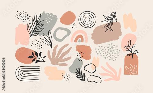 Obraz na plátně Minimalist abstract nature art shapes collection
