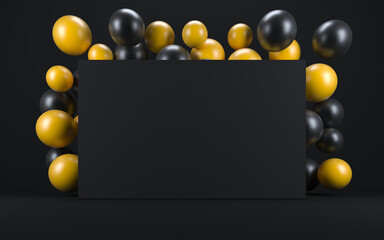 Yellow and black balloon in a black interior around a black board. 3d render