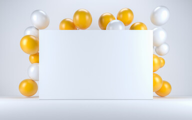 Yellow and white balloon in a white interior around a white board. 3d render