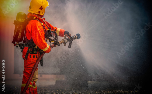 Stampa su Tela Firefighter with uniform and helmet stand, JET CUTTING & FIRE FIGHTING: High pre