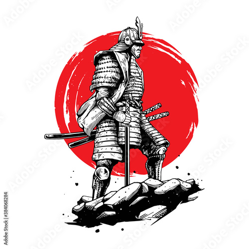 Fotografie, Obraz samurai hand drawing style