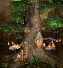 Old Tree In The Dark Forest With Elf Houses And Hanging Lanterns