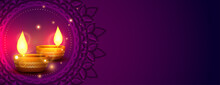 Shiny Happy Diwali Indian Style Banner With Text Space