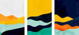 minimalistyczny zestaw trzech ulotek w kształcie linii krzywych