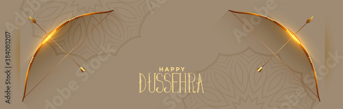Photo Happy dussehra festival celebration banner with bow and arrow vector