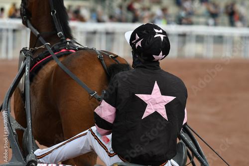 course de chevaux en trot attelé Fototapeta