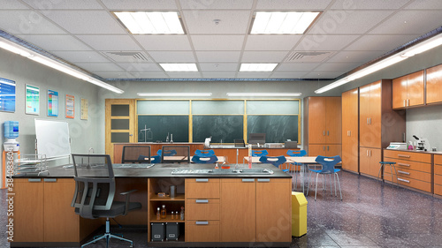 Obraz High school classroom interior. 3d illustration - fototapety do salonu