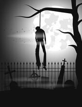 Dead Man Hanged From A Tree In The Old Cemetery