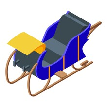 Blue Sleigh Icon. Isometric Of Blue Sleigh Vector Icon For Web Design Isolated On White Background