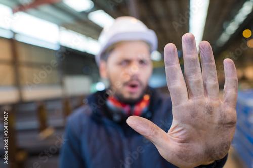 Billede på lærred industrial worker gesturing no