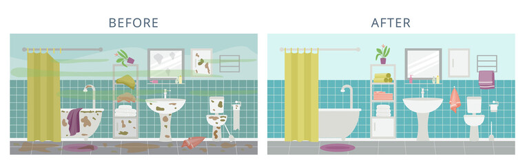 Clean and dirty modern bathroom interior a flat vector illustration