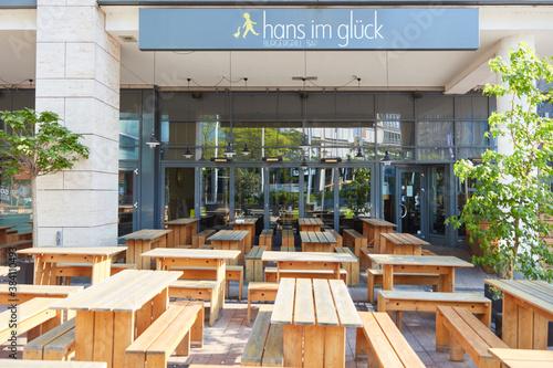 COLOGNE; May 2020: Closed Burger restaurant Hans im Glueck
