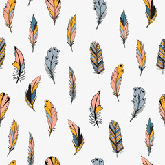 Panel Szklany Do sypialni Seamless pattern with feather. Vector illustration on white background.