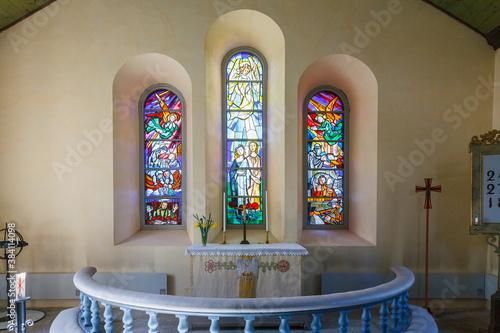 Obraz na plátně Church interior with an altar in a Swedish church