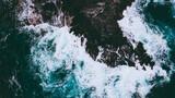 Aerial of waves and reefs, Oahu, Hawaii - 384122842