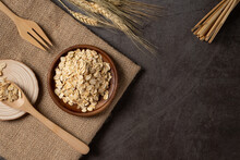 Oat Flakes In Wooden Bowl Top ...