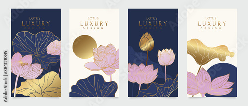 Fototapeta Luxury cover design template. Lotus line arts hand draw gold lotus flower and leaves. Design for packaging design, social media post, cover, banner, creative post, Gold geometric pattern design vector obraz