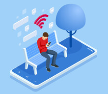 Isometric Man In Free Internet Zone Using Mobile Gadgets, Tablet Pc And Smartphone. WIFI Zone. A Man Sits On A Bench In The Park And Communicates In Social Networks.