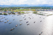 Aerial View Of Boats In Tam Giang Lagoon, Near Hue City, Vietnam.