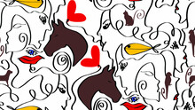 Abstract One Line Drawing Mix Animals Hearts Lips Eyes And Woman Faces Repeating Vector Pattern Isolated Background