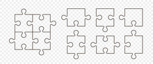 Puzzle Pieces Vector Set. Separate Puzzle Pieces With The Ability To Change The Thickness Of The Lines. Puzzle Isolated On Transparent Background. Vector