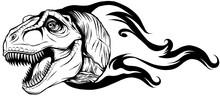 Dinosaurus Tyrannosaurus Rex Head Art Vector Illustration Design