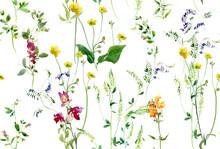 Floral Arrangements Seamless Pattern, Watercolor Wild Flowers Textile Design,  Coutry Lifestyle Rustic Motifs