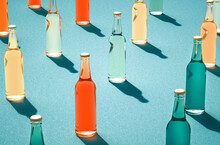 Various Color Glass Bottles Wi...