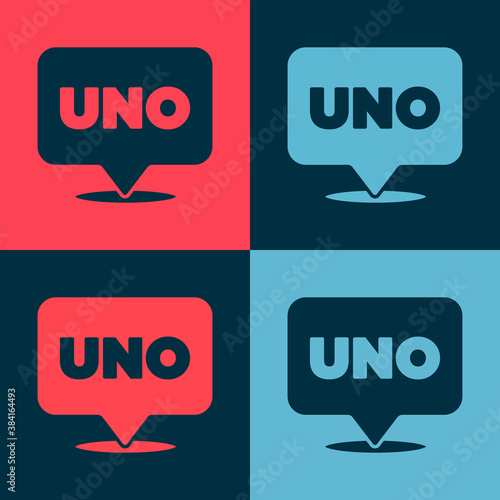 Cuadros en Lienzo Pop art Uno card game icon isolated on color background. Vector.