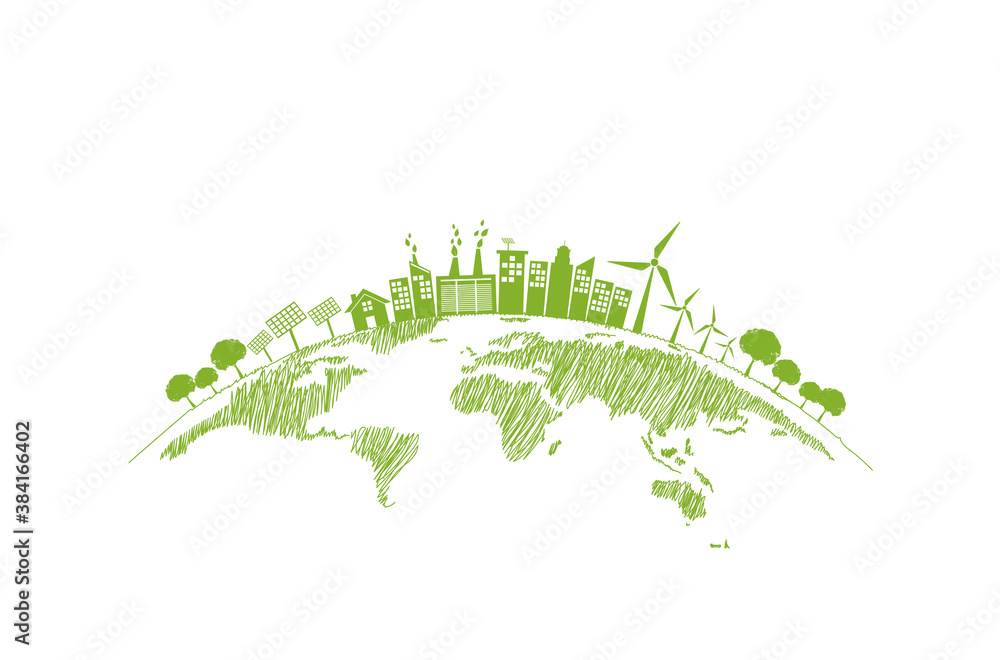 Fototapeta Sustainability development and World environmental concept with Green city and Ecology friendly, vector illustration