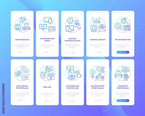 Multichannel marketing onboarding mobile app page screen with concepts set. Media and content coordination walkthrough 5 steps graphic instructions. UI vector template with RGB color illustrations - 384166868