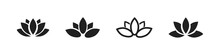 Set Of Lotus Flower Icon. Vector Lotus Plants Black Collection.