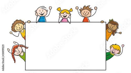Fototapeta Many Kids Children arround Banner obraz