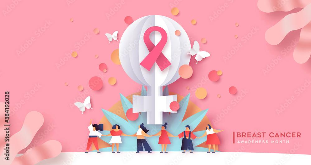 Fototapeta Breast cancer awareness month women team together