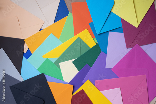 Plakaty kolorowe  colored-envelopes-on-the-table-in-the-form-of-a-mosaic