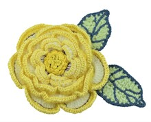 Yellow Crochet Rose With Leaves Isolated On White Background, Handmade Flower