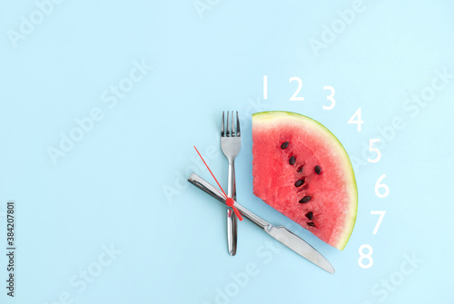 Fotografía Intermittent fasting eight hours, keto concept
