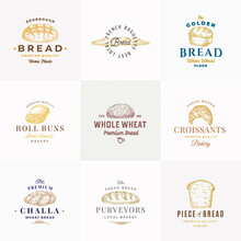 Premium Quality Bakery Vector Signs Or Logo Templates Collection. Hand Drawn Brad Loafs, Challa, Baguette And Croissant Sketches With Typography. Food Emblems Bundle.