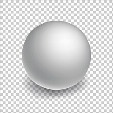 Blank Mockup Sphere Or Ball On Transperent Background. White Three-dimensional Globe Object With A Shadow.