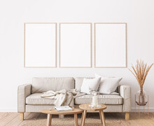 Frame Mockup In Farmhouse Living Room Design, White Furniture On Bright Wall Background