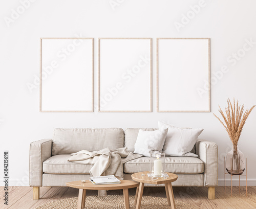 Cuadros en Lienzo Frame mockup in farmhouse living room design, white furniture on bright wall bac