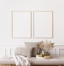 Frame Mockup In Contemporary Living Room Design, Two Vertical Frames On White Wall Background